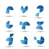 O grupo de símbolos 3d simples geométrico abstrato, vector ícones abstratos Imagens de Stock