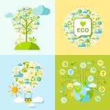 O grupo de símbolos da ecologia com simplesmente dá forma ao globo, árvore, balão Foto de Stock Royalty Free