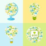 O grupo de símbolos da ecologia com simplesmente dá forma ao globo, lâmpada, balão Imagens de Stock Royalty Free