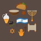 O grupo de s?mbolos tradicionais judaicos e o alimento, judaism dos religios de Israel objetam no estilo liso cultura Estrela, mi ilustração stock