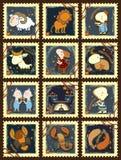O grupo de selos postais com zodíaco canta Imagem de Stock