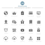 O grupo de SEO e de ícones do desenvolvimento ajustou 3 Fotografia de Stock Royalty Free