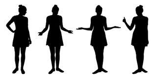 O grupo de silhuetas realísticas de jovens mulheres eretas differen dentro ilustração do vetor