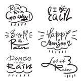 O grupo de simples inspira e citações inspiradores sobre a chuva Rotulação bonita tirada mão Cópia para o cartaz inspirado, t-shi ilustração stock
