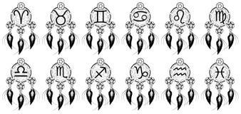 O grupo de sinais do zodíaco bani sobre pensamentos ilustração do vetor
