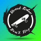 O grupo de skateboarding simboliza, etiquetas e projetou ilustração royalty free