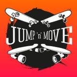 O grupo de skateboarding simboliza, etiquetas e projetou ilustração do vetor