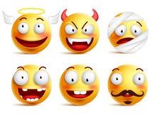 O grupo de smiley do vetor com caras engraçadas gosta do anjo e do demônio ilustração do vetor