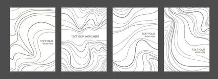O grupo de 4 tampas gráficas de mármore mínimas projeta Cartaz simples ilustração stock