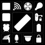 O grupo de telecontrole, destrava, câmara de segurança, controle da voz, painel, vagabundos ilustração do vetor