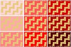 O grupo de 9 texturas sem emenda do teste padrão de formas geométricas retangulares douradas sobre o vermelho protege a ilustraçã ilustração royalty free
