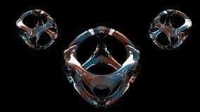 O grupo de três 3D rendeu o objeto de vidro isolado no fundo preto ilustração stock