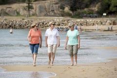 O grupo de três superiores amadurece as mulheres aposentadas em seu 60s que tem o divertimento que apreciam junto o passeio feliz Fotos de Stock Royalty Free