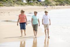 O grupo de três superiores amadurece as mulheres aposentadas em seu 60s que tem o divertimento que apreciam junto o passeio feliz Fotografia de Stock