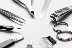 O grupo de tratamento de mãos metálico utiliza ferramentas o macro imagem de stock royalty free