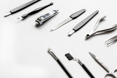 O grupo de tratamento de mãos metálico utiliza ferramentas o macro Fotografia de Stock Royalty Free