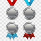 O grupo de troféu realístico da prata 3d do campeão 3d realístico concede-me Fotos de Stock Royalty Free