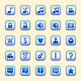 O grupo de twenty-five botões azuis Imagem de Stock Royalty Free