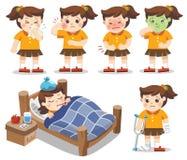 O grupo de uma menina fica doente Tem a alta temperatura dor de estômago, ilustração stock