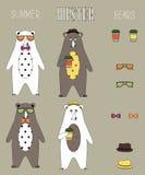 O grupo de urso do verão do moderno liso com acessórios pode trocar Imagem de Stock Royalty Free