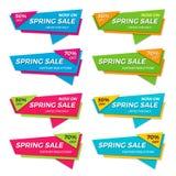 O grupo de venda da mola etiqueta moldes dos crachás das bandeiras dos preços Imagem de Stock Royalty Free