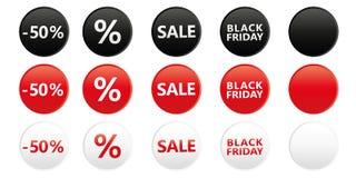 O grupo de venda preta redonda de sexta-feira etiqueta para a promoção em cores brancas e pretas vermelhas ilustração royalty free