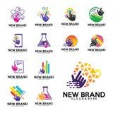 O grupo de vetor do logotipo do toque, biologia dobra o ícone, verde, colorfull, pixéis, telefone, nota, stats, finança ilustração stock