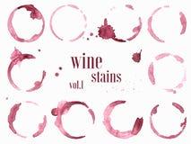 O grupo de vinho mancha e chapinha Ilustração do vetor ilustração stock