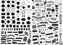 O grupo de vintage denominou sinais do vetor dos ícones do moderno do projeto e os moldes dos símbolos telefonam, dispositivos, ó ilustração do vetor