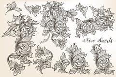 O grupo de vintage do vetor floresce para o projeto no estilo antigo ilustração royalty free