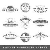 O grupo de vintage etiqueta a carpintaria Imagens de Stock Royalty Free