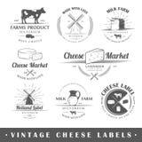 O grupo de vintage etiqueta o queijo Fotos de Stock