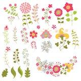 O grupo de vintage floresce elemments Flores, ramos, bagas Fotografia de Stock