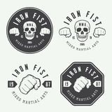 O grupo de vintage misturou o logotipo, os crachás e os emblemas das artes marciais Imagens de Stock