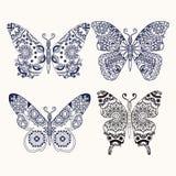 O grupo de zentangle das borboletas estilizou a ilustração tirada mão Imagem de Stock Royalty Free