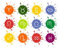O grupo de zodíaco do vetor assina gotas coloridas da pintura ilustração royalty free