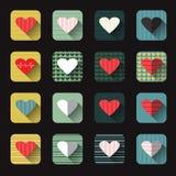 O grupo do ícone da ilustração do vetor de corações vermelhos dá forma Fotografia de Stock