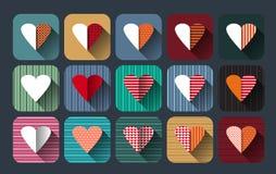 O grupo do ícone da ilustração do vetor de corações vermelhos dá forma Fotografia de Stock Royalty Free