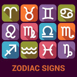 O grupo do ícone do vetor de zodíaco assina dentro o estilo liso Fotos de Stock