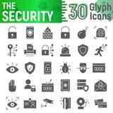 O grupo do ícone do glyph da segurança, símbolos coleção da proteção, esboços do vetor, ilustrações do logotipo, defesa assina ilustração royalty free