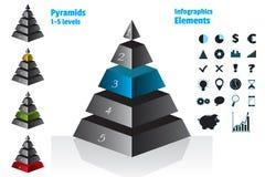 O grupo do azul de cartas simétricas isometry da pirâmide, diagram 5 níveis com inclinação, textura do metal Infographics dos ele Imagens de Stock