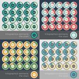 O grupo do círculo segmentou cartas no estilo liso Imagens de Stock