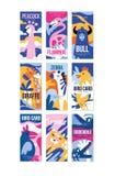 O grupo do cartaz dos pássaros e dos animais, elemento do projeto com pavão, flamingo, touro, girafa, zebra, leopardo, crocodilo  Imagem de Stock