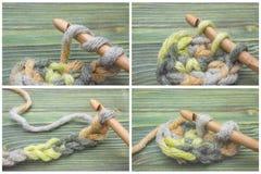 O grupo do começo de faz crochê a corrente e o lenço Fazer crochê o fio verde morno do inverno do processo, fazer crochê a corren Fotos de Stock