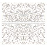 O grupo do contorno de vitral com sumário das ilustrações roda, flores e borboletas, orientação horizontal ilustração do vetor