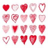 O grupo do esboço de Valentim vermelhos das formas dos corações projeta Imagens de Stock Royalty Free