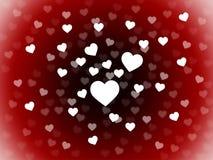 O grupo do fundo dos corações mostra a paixão romance e o amor Fotos de Stock Royalty Free