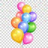 O grupo do hélio colorido balloons na parte traseira transparente Foto de Stock
