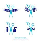 O grupo do logotipo do cabeleireiro com scissor ilustração stock
