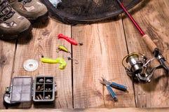 O grupo do pescador Coisas necessárias para pescar Recolhendo coisas para pescar imagem de stock royalty free